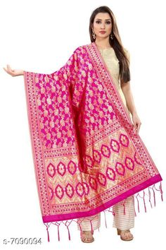 Checkout this latest Dupattas Product Name: *Stylish Women's Dupatta* Fabric: Banarasi Silk Pattern: Zari Work Multipack: 1 Sizes:Free Size (Length Size: 2.2 m)  Country of Origin: India Easy Returns Available In Case Of Any Issue   Catalog Rating: ★3.9 (294)  Catalog Name: Stylish Women's Dupattas CatalogID_1131550 C74-SC1006 Code: 172-7090094-606