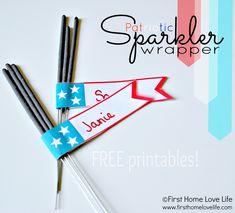 Patriotic Sparkler Flag Banners  **FREE Printables**
