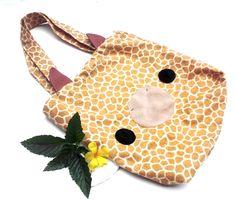 Tote Bag - Giraffe Print , Cute Tote , Kawaii Schoolbag. $25.00, via Etsy.