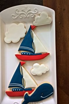 Sailboat Cookie- 12 Pieces Cookie Favor, Nautical Themed Baby Shower, Ahoy It's a Boy!, Birthday: