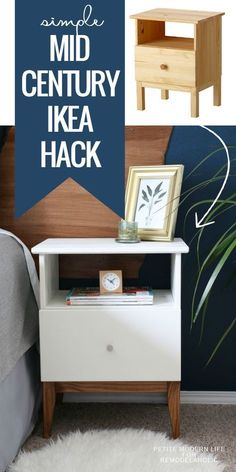 Make IKEA look like classic mid century with this easy TARVA nighstand hack. - Ikea DIY - The best IKEA hacks all in one place Diy Home Decor Projects, Furniture Projects, Furniture Makeover, Diy Furniture, Bedroom Furniture, Furniture Movers, Furniture Storage, Dresser Storage, Bedroom Cabinets
