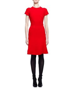 Short-Sleeve+Crewneck+Flare-Hem+Dress,+Red+by+Alexander+McQueen+at+Neiman+Marcus.