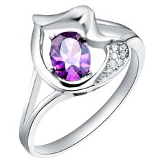 High Quality Purple Vogue 925 Sterling Silver Jewelry Wedding Ring For Women Size 7/8/9 Wholesale SCJ099 #Affiliate