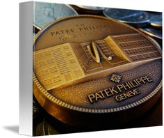 "Patek Philippe Geneve Commemorative Medal Coin $62 // Style: White Edge Canvas Print; Size: Petite 8"" x 10"" // Visit http://www.imagekind.com/Patek-Philippe-Geneve-PPG_art?IMID=f3908c20-ea81-4cad-96a2-bcfab5a6a254 for product details."