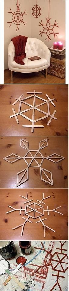DIY Popsicle Stick Snowflakes for Christmas time Kids Crafts, Craft Stick Crafts, Crafts For Teens, Diy And Crafts, Craft Ideas, Craft Sticks, Diy Ideas, Decorating Ideas, Easy Crafts
