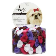 Aria Polyester Gigi Dog Bows Canister with Rubber Band, 48-Pack