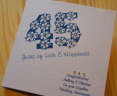 Handmade Card - Wedding Anniversary  45th Sapphire - personalised