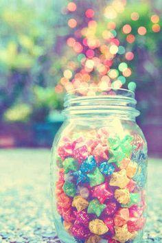 ohemgeee. colorful, cute, jar, origami, stars