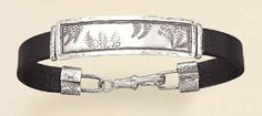 7-1/2 inch long Leather/Sterling Silver Identification ID Bracelet, Fern Design, 9/16 inch wide Silver Messages. $130.99