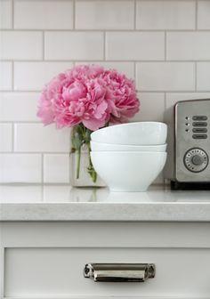 """Our House: Home Depot 3 x 6 subway tiles; """"Bone"""" Flextile grout; 1/16"""" spacers; quartz countertops"""