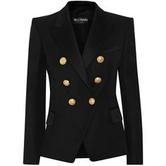 Balmain Double-breasted wool-twill blazer ($2,010) ❤ liked on Polyvore featuring outerwear, jackets, blazers, blazer, black, black jacket, slim fit blazer, wool jacket, black blazer and black wool jacket