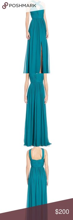 Aidan Mattox Crossover Halter Silk Chiffon Gown New With Tags Dark Teal Color Lowest (Can Not Accept Offers Due To Poshmark Fees) Aidan Mattox Dresses Wedding