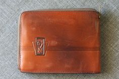 Art Deco Floral Tooled Leather Bosca Wallet by thriftykitten