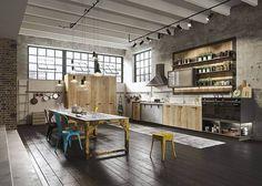 Reclaimed Hardwood Flooring in Industrial Style Kitchen