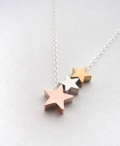 star trio necklace (gold, rose gold and silver)
