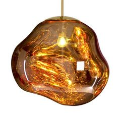 Tom Dixon's intriguing Melt pendant light was designed in collaboration with the Swedish design collective Front. When turned off, Melt has a lustrous mirror finish and the uneven surface reflects light in the most exciting way.