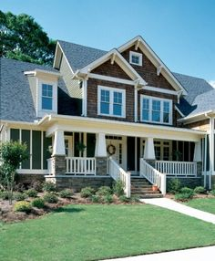 Craftsman Home! Love the wood shingles and rock!! Awesome porch!!