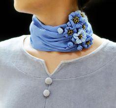 Fresh and elegant purplish blue wildflowers silk neckerchief | Sculpture & Necklace | Blue flowers | Fiber art | Wearable art