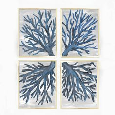Instantly transport yourself to the ocean with this four print set of sea fan art prints. It features hand painted navy blue coral set on a gray background -- the perfect way to bring style to any beach or nautical home decor.