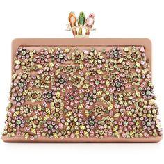Valentino Parrot Crystal-Encrusted Clutch Bag featuring polyvore, women's fashion, bags, handbags, clutches, purses, rose, brown handbags, rose handbag, embellished handbags, chain handle handbags and handbags purses
