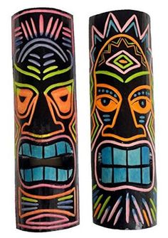 2 Brights and Black Hand Carved Wood Tiki Masks - Tropically Inclined African Art Projects, Tiki Totem, Tiki Tiki, Hand Carved, Carved Wood, Tiki Head, Tiki Statues, Luau Decorations, Tiki Decor