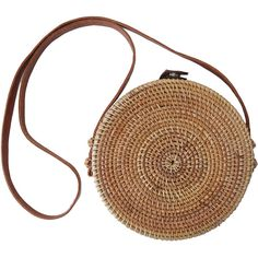 Round Circle Capri Crossbody Purse; Woven Bamboo Rattan Straw Wicker... (€41) ❤ liked on Polyvore featuring bags, handbags, tote bags, purse tote, beach tote bags, handbags crossbody, cross-body handbag and straw tote bags