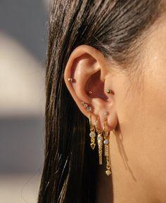 Brass ear stud The Tree of Life / Piercing oreille, boucle d'oreille L'Arbre de vie - Custom Jewelry Ideas Golden Earrings, Bar Stud Earrings, Crystal Earrings, Diamond Earrings, Pendant Earrings, Diamond Jewelry, Silver Earrings, Ruby Jewelry, Ear Jewelry