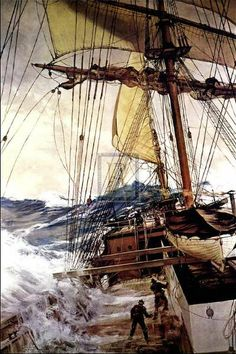 """The Rising Wind"" - Montague Dawson."