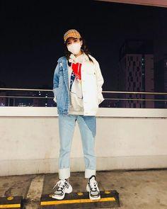 Stylish Sandara Park twitter update wearing #SJYP Distressed Denim Jacket