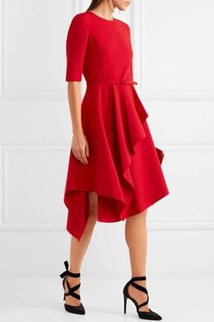 Oscar de la Renta   Ruffled stretch wool-blend dress   NET-A-PORTER.COM