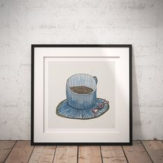 Cute Kitchen Print. Sweet Housewarming Gift. Kitchen Wall Art. Coffee Cup Print Download. Coffee Shop Decor. Hand Drawn Art, Cartoon Print
