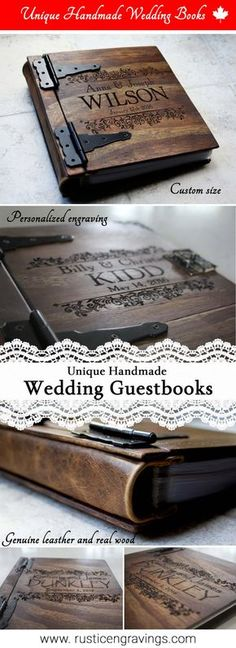 These rustic wedding guest books are customizable and totally unique. They can be made with different kinds of paper and binding styles and they are completely handmade. Only 150 of these are made by the artist each year.