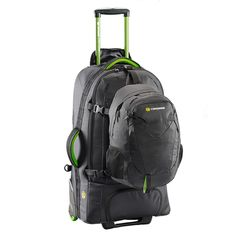 Buy wheeled backpacks for travelling, including the Caribee Fast Track 75 in black and green! A versatile luggage option for backpacking and general travel. Travel Packing, Travel Backpack, Backpack Bags, Travel Tips, Travel Essentials, Backpack With Wheels, Black Backpack, Student Travel, Black Wheels