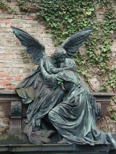 An angel kisses the fallen. Cemetery Monuments, Cemetery Headstones, Old Cemeteries, Graveyards, Highgate Cemetery, Cemetery Statues, Cemetery Art, Last Exile, Cemetery Angels
