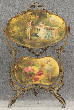 french fire screen | 7981: FRENCH CAST METAL PAINTED FIRE SCREEN circa late : Lot 7981 Circa Late 19th/Early 20th Century