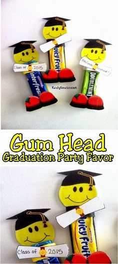 Celebrate the End of School or your child& Graduation with an awesome and unique candy party favor. This graduation gum head will be the life of the party and add a little bit of fun and sweetness to the end of school. Diy Graduation Gifts, Graduation Party Favors, Candy Party Favors, Graduation Invitations, Graduation Ideas, 5th Grade Graduation, Kindergarten Graduation, School Gifts, Student Gifts