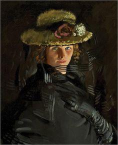 William Orpen (Irish Painter, 1878-1931) Portrait of Grace (The Artist's 1st Wife) Detail 1907