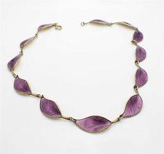 Vintage-David-Andersen-Purple-Enamel-Leaf-Necklace-Sterling-Silver