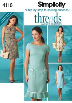 Womens and Petite Lined Dress Sewing Pattern 4118 Simplicity