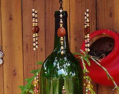 Recycled Wine Bottle Wind Chime with Bird House Topper