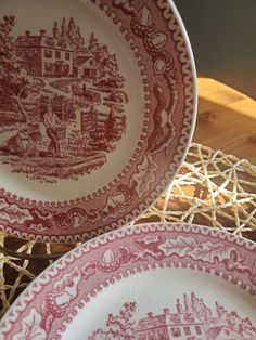 Bread and Butter Plates - 1965 Memory Lane Pink Pattern by Royal Ironstone USA / Vintage / Transfer-ware / Americana Vintage Box, Vintage Silver, Chip And Dip Bowl, Mothers Day Presents, Pink Patterns, Cup And Saucer Set, French Country Decorating, Beautiful Patterns, Trinket Boxes