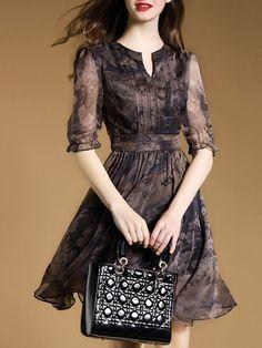 Elegant Half Sleeve A-line Midi Dress