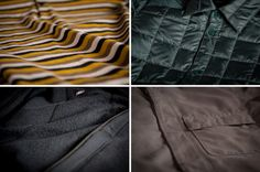 Clockwise from top left: organic cotton, down, recycled poly outerwear, merino wool
