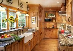 Great knotty pine kitchen cabinets furniture, traditional kitchen with pine cabinets also white sink and classic faucet xvbtnju Rustic Country Kitchens, Country Kitchen Designs, Cabin Kitchens, Rustic Kitchen, New Kitchen, Kitchen Ideas, Kitchen Modern, Kitchen White, Country Sink