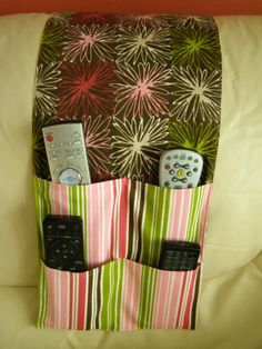 Remote Control Caddy for TV/DVD Remotes 4 pocket Pink Brown Multi Stripe