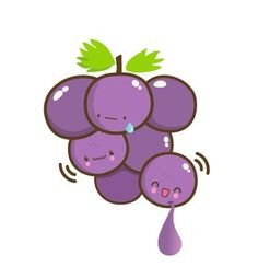 "for my love ""du gros raisin noir"" Kawaii Doodles, Kawaii Chibi, Kawaii Art, Kawaii Drawings, Cartoon Drawings, Cute Drawings, Food Cartoon, Cute Cartoon, Grape Drawing"
