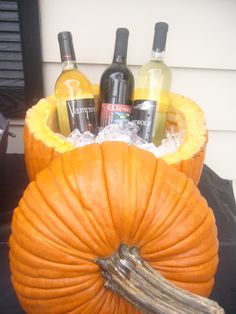 Pumpkin Wine Cooler. Brilliant for a fall deck party. Love this idea! House warming deck party in the fall! :)