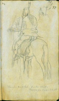 Kanfh-madokah, Sisseton Chief, on horseback, at Traverse des Sioux, by Frank Blackwell Mayer. From Sketchbook of Sioux Indians During the 1851 Treaty Negotiations at Travese de Sioux, July 6, 1851.