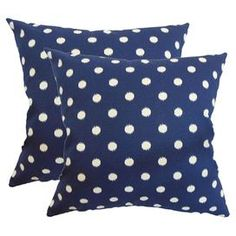 """Down pillow with polka dots.     Product: PillowConstruction Material: Cotton cover and down fillColor: Navy and whiteFeatures:  Insert includedHidden zipper closureMade in the USA Dimensions: 18"""" x 18""""Cleaning and Care: Spot clean. Dry clean recommended."""