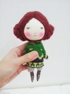 Medium size handmade red hair doll